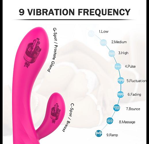 Гладкий розовый массажер MUSES с 9 режимами вибрации - 21,3 см.