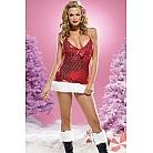 Новогоднее мини-платье с меховой отделкой L красный с белым