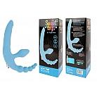 Голубой безремневой страпон с анальным отростком и вибрацией - 15 см.